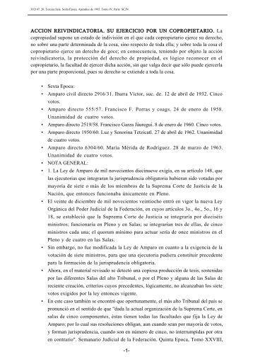 ACCION REIVINDICATORIA. SU EJERCICIO POR UN ...