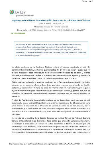 Impuesto sobre Bienes Inmuebles (IBI). Anulación de la Ponencia ...