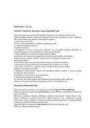 DEPOZITUL LEGAL Definiţie. Categorii de documente supuse ...