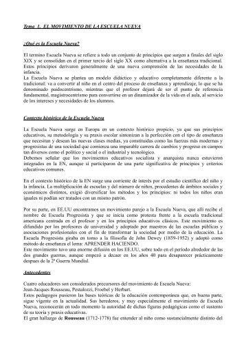 Tema 1. EL MOVIMIENTO DE LA ESCUELA NUEVA ¿Qué es la ...