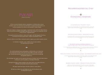 Carta Aranwa Pukawi Gourmet Restaurant 2012