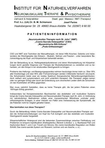 PATIENTENINFORMATION - Schlamann & Paries