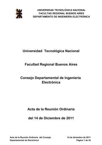 Acta del 14/12/2011 - Electronica - Universidad Tecnológica Nacional