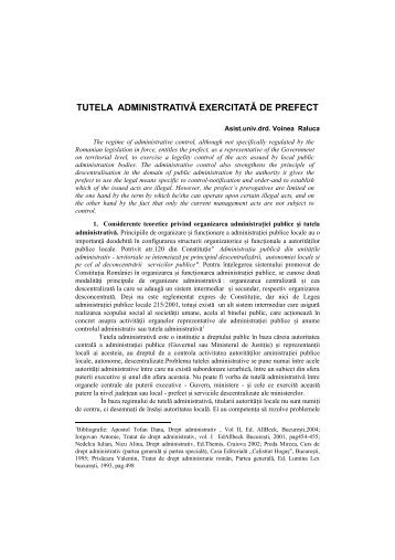 tutela administrativa exercitata de prefect