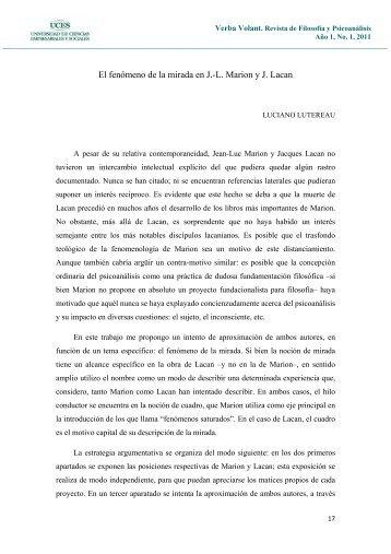 El fenómeno de la mirada en J.-L. Marion y J. Lacan - UCES