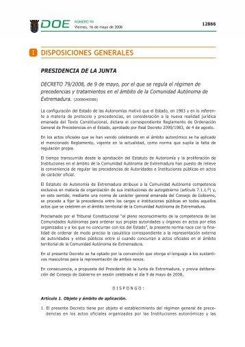 I DISPOSICIONES GENERALES - Universidad de Extremadura