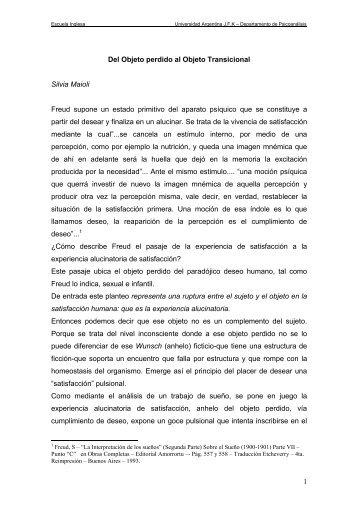 Del Objeto perdido al Objeto Transicional - Universidad Argentina ...