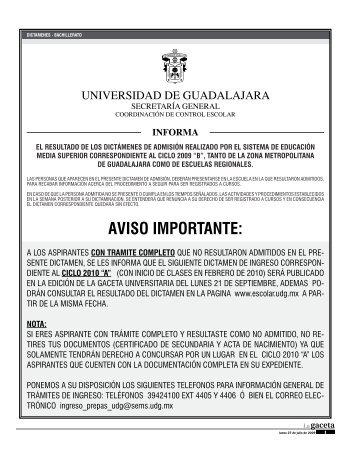AVISO IMPORTANTE: - La gaceta - Universidad de Guadalajara