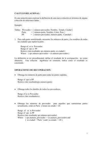 CALCULO DE PREDICADOS DE TUPLAS - TEC-Digital