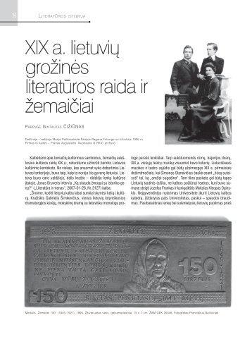 XIX a. lietuvių grožinės literatūros raida ir žemaičiai XIX a ... - Žemaitija