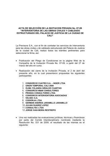 ACTA DE SELECCIÓN DE LA INVITACION ... - La Previsora S.A.