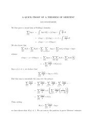 A QUICK PROOF OF A THEOREM OF MERTENS' We first prove a ...