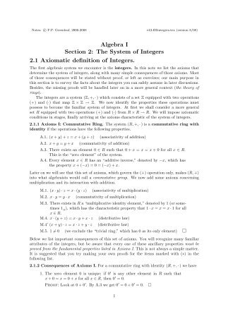 Algebra I Section 2: The System of Integers 2.1 Axiomatic definition ...
