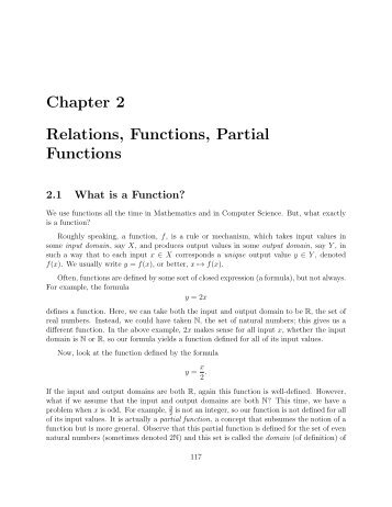 Chapter 2 Relations, Functions, Partial Functions - Computer ...
