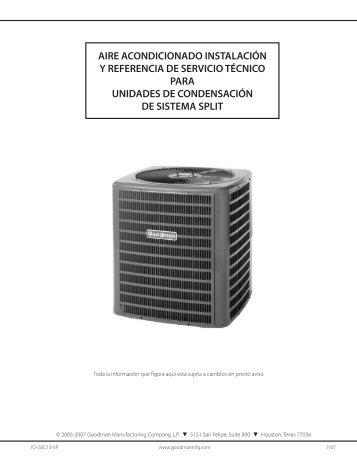 aire acondicionado instalación y referencia de servicio - Goodman