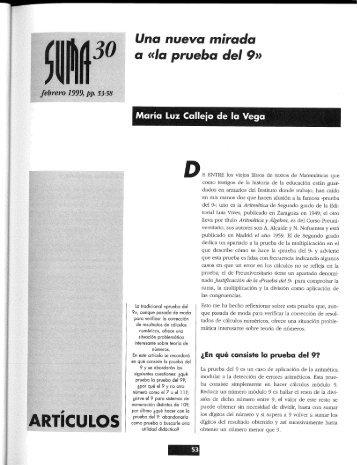 Una nueva mirada a la prueba del nueve - SUMA Revistas de ...