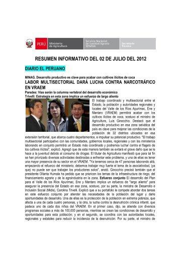 RESUMEN INFORMATIVO DEL 02 DE JULIO DEL 2012 - Senasa