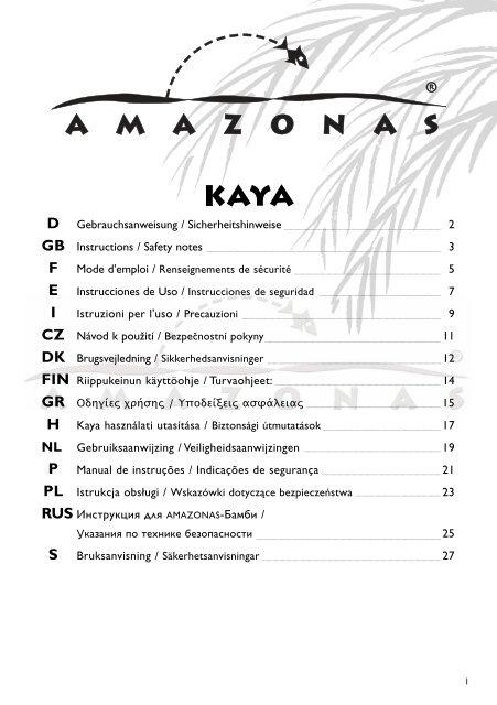 Bevestigingsset Hangstoel Seguro.Instruction Kaya Des3 148 X 210 Mm Amazonas