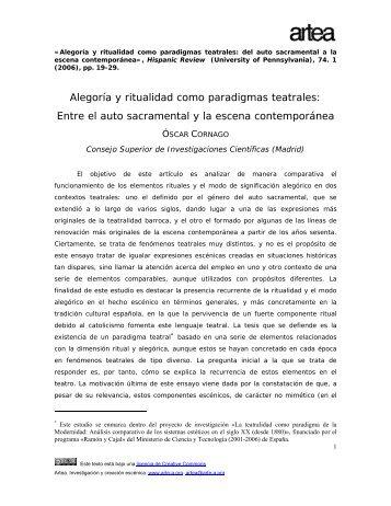 alegora y ritualidad como paradigmas teatrales - Archivo Virtual de ...