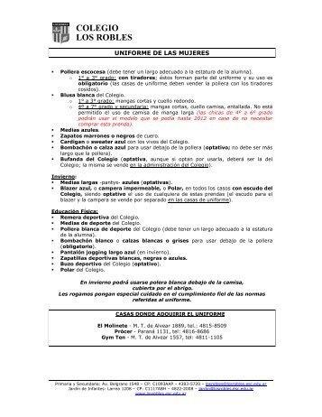 Uniforme Primaria y Secundaria - Colegio Los Robles