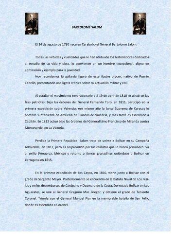 general de division bartolome salom - Ejército Libertador Venezolano