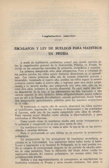 ESCALAFON Y LEY DE SUELDOS PARA MAESTROS EN PRUSIA
