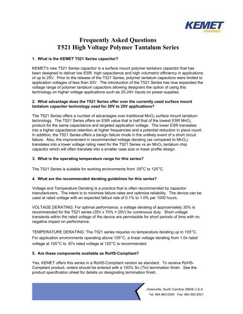 Frequently Asked Questions T521 High Voltage Polymer     - Kemet