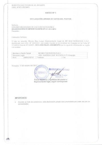ANEXO N° 1 DECLARACIÓN JURADA DE DATOS DEL ... - seace