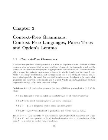 Chapter 3 Context-Free Grammars, Context-Free Languages, Parse ...