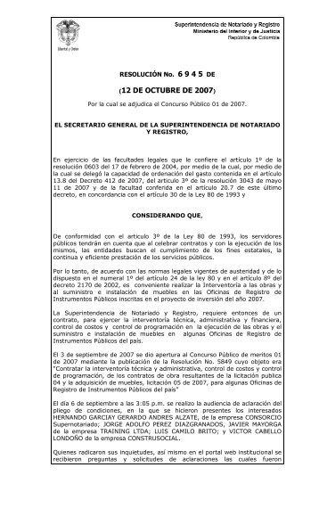 Resolucion de Adjudicacion - Superintendencia de Notariado y ...