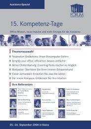 15. Kompetenz-Tage für die Assistenz - Karin H. Schleines