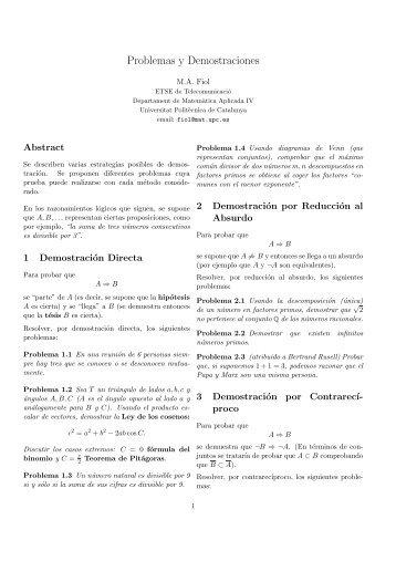 Problemas y Demostraciones - Departament de Matemàtica ...