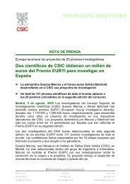 Dos científicos de CSIC obtienen un millón de euros del Premio ...