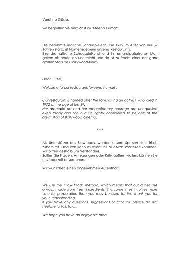 Meena Speisekarte - Schlemmerinfo