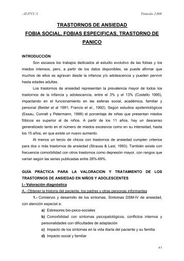 fobia social, fobias específicas, trastorno - Asociación Española de ...