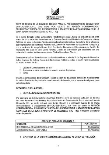 Apertura Oferta Económica R2 - Ministerio de Transporte y Obras ...