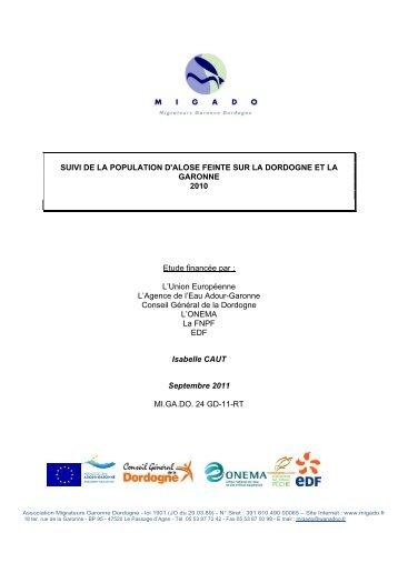 SUIVI DE LA POPULATION D'ALOSE FEINTE SUR LA DORDOGNE ...