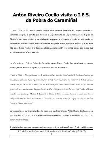 Antón Riveiro Coello visita o I.E.S. da Pobra do Caramiñal