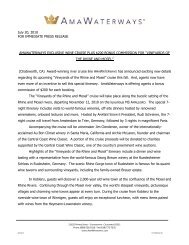 July 20, 2010 FOR IMMEDIATE PRESS RELEASE - Amawaterways
