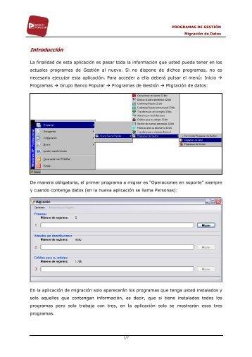 descargarse el manual sobre Migración de datos - Banco Popular