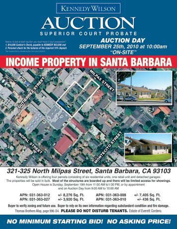 income property in santa barbara - Kennedy Wilson Auction Group