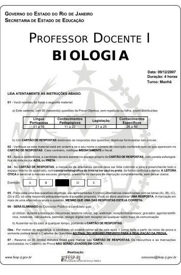 Prova - Biologia - Central de Concursos