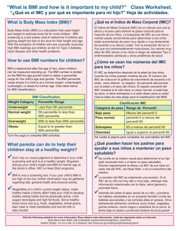 """What is BMI and how is it important to my child?"" Class Worksheet."