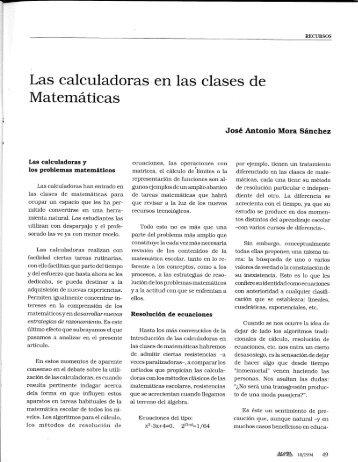 Las calculadoras en las clases de - SUMA Revistas de matemáticas