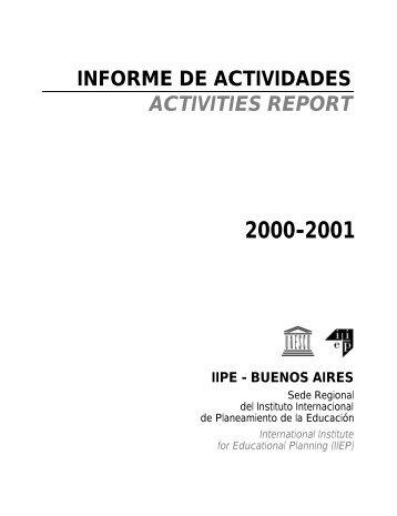 informe de actividades activities report 2000-2001 iipe - buenos aires