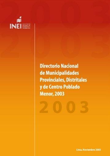 directorio nacional de municipalidades provinciales, distritales y - Inei