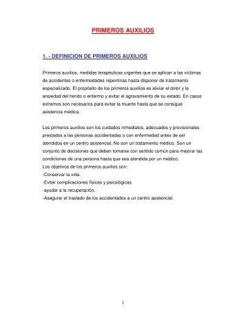 1. - DEFINICION DE PRIMEROS AUXILIOS - Ciclos Deporte