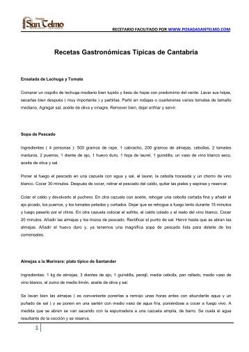 Recetas Típicas de la Gastronomía Cántabra. - Posada San Telmo