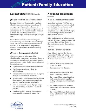 Los tratamientos con nebulizador - Children's Hospitals and Clinics ...