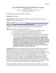 Identifying Rhetorical Strategies in Argument - San Jose State ...